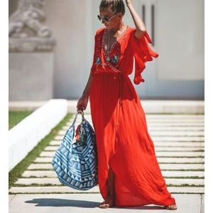 VICI red embroidered wrap dress